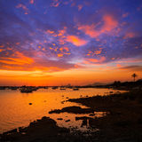 Formentera sunset in Estany des Peix with Ibiza Es vedra Stock Image