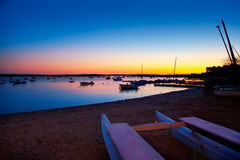 Formentera sunset in se estany des peix Royalty Free Stock Photos