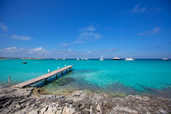 Formentera tropical Mediterranean sea wooden pier Royalty Free Stock Image