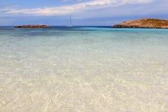 Formentera van het strandeilanden van Illetes Baleaars eiland Stock Afbeeldingen
