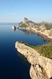 Formentera viewpoint. View fron a viewpoint high above Porto Pollensa looking toward Formentera, Mallorca stock image
