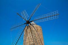 Formentera Windmill wind mill vintage masonry and wood Royalty Free Stock Photo