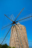 Formentera Windmill wind mill vintage masonry and wood Royalty Free Stock Images