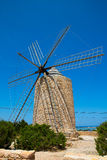 Formentera Windmill wind mill vintage masonry and wood Royalty Free Stock Image