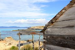 Formentera wooden boat traditional houses Stock Photography