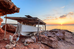 Formentera zonsondergang Stock Foto's