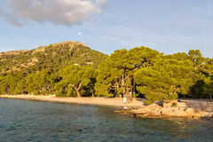 Formentor beach. This beach is also called Cala Pi de la Posada. It is located at the Formentor peninsula near Formentor Hotel and is a very popular swimming Royalty Free Stock Photos