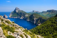 Formentor cape to Pollensa, high aerial sea view in Mallorca balearic islands. Formentor cape to Pollensa high aerial sea view in Mallorca balearic islands Royalty Free Stock Photography
