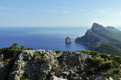 Formentor Coast & El Colomer Islet. View on the west coast of Formentor and El Colomer Islet in Mallorca stock image