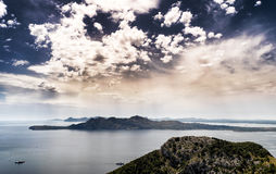 Formentor view in Mallorca, Balearic island, Spain. Formentor view of a dramatic sky and far away peninsula in Mallorca, Balearic island, Spain Royalty Free Stock Photos