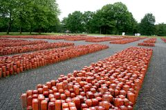 former appel place 102.000 stones placed symbolizing 102.000 prisoners never returned Royalty Free Stock Image