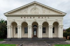 Ararat shire hall in the western district regional town of Ararat. The former Ararat shire hall on Barkly Street in central Ararat has a classical fascade with Stock Photo