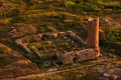 Aerial view on the ruins of ancient city of Van royalty free stock photo