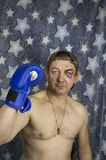 Former boxer - in the rack boxer on a star background stock image