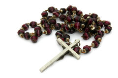 Former burgundy beads rosary Royalty Free Stock Photography