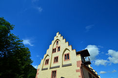 Former Castle Mill in Amorbach. Gabled façade of a historical house in bavaria royalty free stock photo