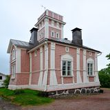 Former combined fire station and prison. Old former combined fire station and prison in Ekenas (Tammisaari), Finland stock photo