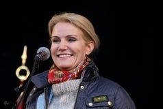 Former danish prime minister Helle Thorning Schmidt. Speaks in fælledpark in Copenhagen, when 1. may Stock Photos