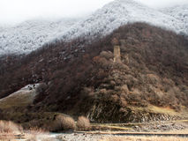 Former defensive tower on the way to Gudauri Royalty Free Stock Photography