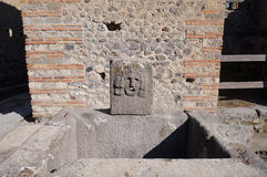 Former drinkable fountain in Pompeii Stock Photo