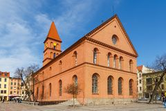 Former Evangelical church on the New Town market in Torun. Torun, Poland - 05 April, 2014: Former Evangelical church on the New Town Market. The medieval old Royalty Free Stock Image