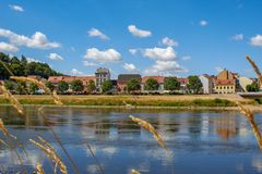 Former fisherman`s houses on the the river Elbe royalty free stock photo