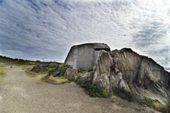 Former fortification Bunker of reinforced concrete to protect royalty free stock photography