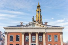 Former grain exchange building and church tower in Groningen. Netherlands stock photography