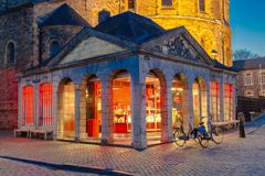 Former guards house in Maastricht nowadays in use as a place to get the best ice creams in town stock images