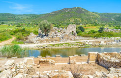 The former harbor. The view on swamped ancient port with the harbor baths on the background, Patara, Turkey Stock Photography