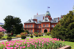 Former Hokkaido Government Office. SAPPORO, JAPAN- MAY 6, 2015 : Former Hokkaido Government Office made of red bricks and its garden with Sakura or Cherry Stock Image