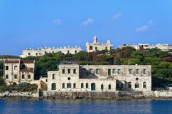 Former hospital of Manoel fort. Manoel island between Sliema and Valletta on Malta. Former hospital building of Manoel fort located on the Manoel island between stock images