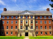 The former hospital on Governors island. National park in Manhattan, new york city, new york Stock Image