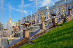 The former Imperial residence of Peterhof, the Great cascade Stock Image