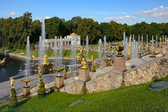 The former Imperial residence of Peterhof, the Great cascade Royalty Free Stock Images