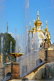 The former Imperial residence of Peterhof, the Great cascade Stock Images