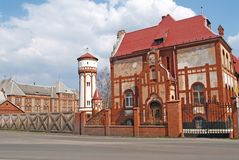 The former infantry barracks and water tower in the territory of the military camp. Baltiysk, Kaliningrad region Stock Image