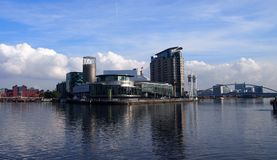 Panoramic view of Salford Quays in Manchester, England royalty free stock photography