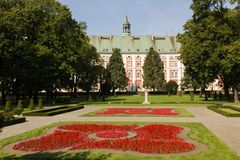 Former Jesuit College & Chopin Park. Poznan. Poland. The Collegiate buildings & Chopin Park. Poznan. Poland stock images