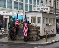 Former Location of Checkpoint Charlie stock images