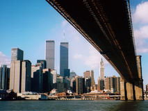 Former Lower Manhattan skyline. View of Lower manhattan skyline from beneath Brooklyn Bridge Royalty Free Stock Photos
