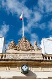 Former Main Guard building situated in St George's square facing. The Grand Masters Palace in Valletta, Malta, In 1814 a portico on the front of the entrance to Royalty Free Stock Photography
