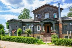 Former mansion of the Nelubovs of the 19th century in MALOYAROSLAVETS, RUSSIA stock photography