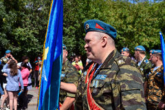 Former military personnel mark holiday - the Day of Airborne Troops. TOMSK, RUSSIA - AUGUST 2, 2016:Former military personnel mark holiday - the Day of Airborne royalty free stock image