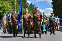 Former military personnel mark holiday - the Day of Airborne Troops. TOMSK, RUSSIA - AUGUST 2, 2016:Former military personnel mark holiday - the Day of Airborne stock photography