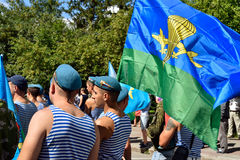 Former military personnel mark holiday - the Day of Airborne Troops. TOMSK, RUSSIA - AUGUST 2, 2016:Former military personnel mark holiday - the Day of Airborne stock photo