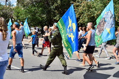 Former military personnel mark holiday - the Day of Airborne Troops. TOMSK, RUSSIA - AUGUST 2, 2016:Former military personnel mark holiday - the Day of Airborne royalty free stock images
