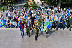Former military personnel mark holiday - the Day of Airborne Troops. TOMSK, RUSSIA - AUGUST 2, 2016:Former military personnel mark holiday - the Day of Airborne royalty free stock photos
