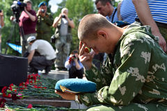 Former military personnel mark holiday - the Day of Airborne Troops. TOMSK, RUSSIA - AUGUST 2, 2016:Former military personnel mark holiday - the Day of Airborne stock images