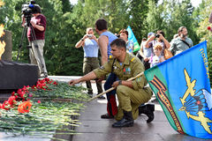 Former military personnel mark holiday - the Day of Airborne Troops. TOMSK, RUSSIA - AUGUST 2, 2016:Former military personnel mark holiday - the Day of Airborne stock image